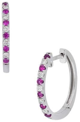 Bony Levy 18K White Gold Ruby & Diamond 17mm Huggie Earrings