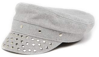 August Hat Textured Newsboy Cap With Studded Trim