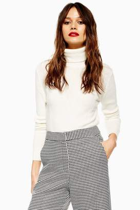 Topshop Cropped Roll Neck Jumper with Cashmere
