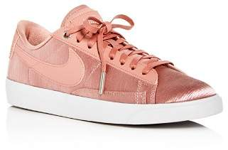 Nike Women's Blazer Embossed Satin & Leather Lace Up Sneakers