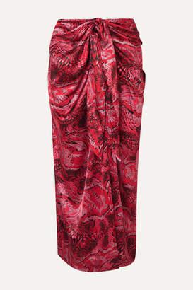 Ganni Tie-front Printed Silk-blend Satin Midi Skirt - Red