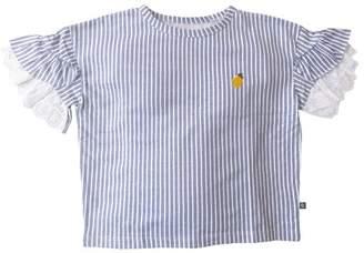 Cherokee Embroidered Stripe Eyelet Ruffle Sleeve Top (Little Girls & Big Girls)