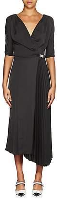 Prada Women's Tech-Crepe Belted Wrap-Front Dress - Black