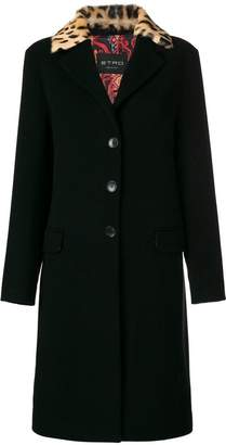 Etro contrast-collar fitted coat