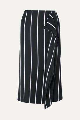 Equipment Climmie Draped Striped Twill Midi Skirt - Black
