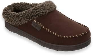 Dearfoams Men's Microfiber Whipstitch Wide-Width Moccasin Slippers