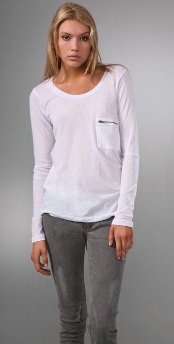Lna Long Sleeve Zip Pocket Tee