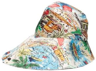 La Prestic Ouiston La Dolce Vita Printed Silk Twill Bucket Hat - Womens - Multi