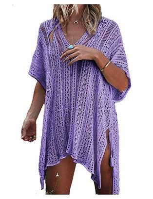 Xugq66 Women's Summer Bohemian Crochet Swim Cover up Bikini Tunic Beach with Tassels Dress