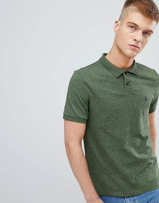 Original Penguin chunky rib mouline polo slim fit embroidered logo in dark green marl
