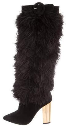 Nicholas Kirkwood Ostrich Feathers Knee High Boots