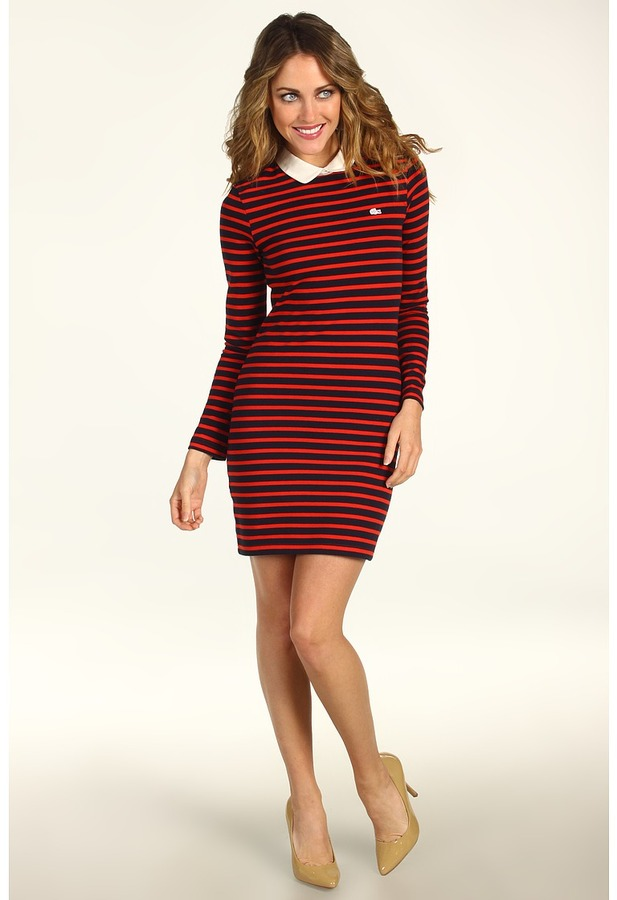 Lacoste L!VE L/S Zipper Back Polo Dress (Navy Blue/Cochineal) - Apparel