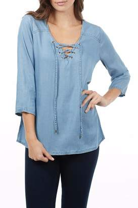 FDJ French Dressing Lace Up Chambray Top