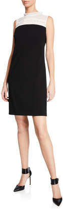 Karl Lagerfeld Paris Sleeveless Shift Dress with Sheer Mock-Neck