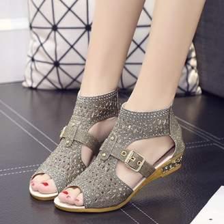 Meigar Women Gladiator Sandals Zipper Hollow High Heels Shoes Summer Wear