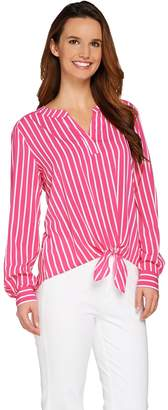 Susan Graver Striped Stretch Woven Split Neck Shirt w/ Tie Front