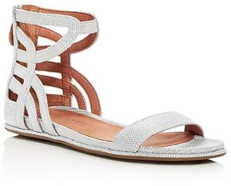 Kenneth Cole Gentle Souls Women's Larisa Snake Embossed Leather Ankle Strap Demi Wedge Sandals