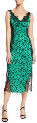 Tanya Taylor Irina Printed Silk Midi Dress with Lace Trim