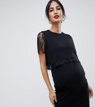 999d198a3b470 Asos Nursing DESIGN Maternity nursing double layer bodycon dress with lace  trim