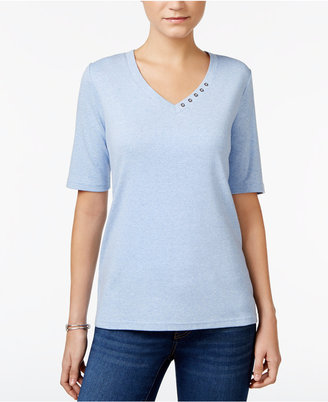 Karen Scott Elbow-Sleeve Top, Only at Macy's $9.98 thestylecure.com