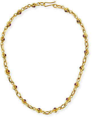 Jean Mahie 22K Gold Ruby & Sapphire Necklace, 17""