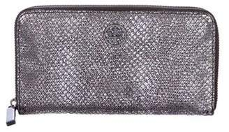 Tory Burch Metallic Embossed Leather Zip-Around Wallet