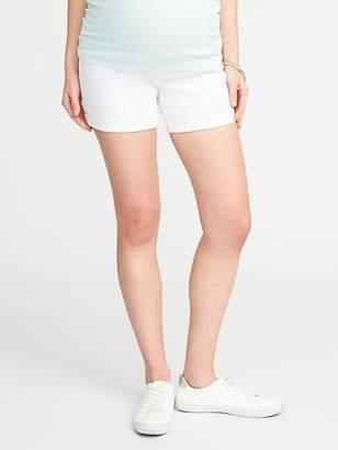 "Old Navy Maternity Full-Panel White Denim Shorts (5"")"