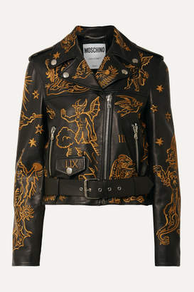 Moschino Embroidered Leather Biker Jacket - Black