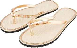 b40099b83dc669 Accessorize Shell Beaded Seagrass Flip Flops