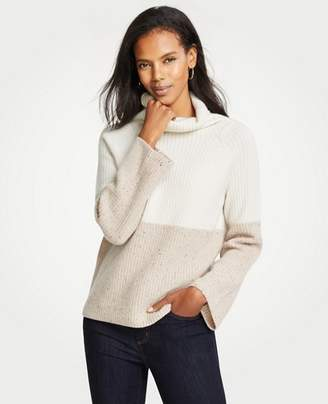 Ann Taylor Petite Cashmere Colorblock Ribbed Turtleneck Sweater