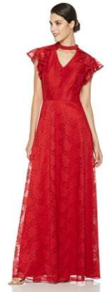 Social Graces Women's Beaded V-Neck Choker Floral Lace Flutter Sleeve Evening Gown