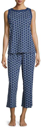 Kate Spade dot-print jersey pajama set, large navy dot