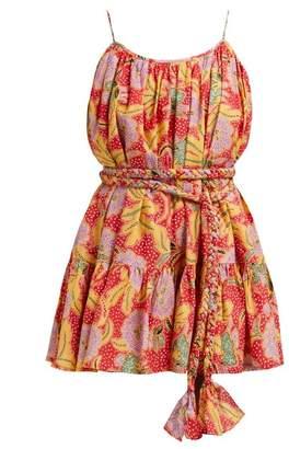 Rhode Resort Nala Belted Floral Print Cotton Dress - Womens - Red Multi
