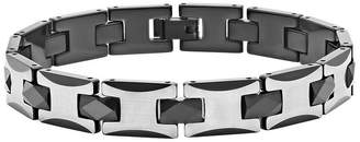 FINE JEWELRY Mens 8 1/2 Inch Stainless Steel & Black Tungsten Link Bracelet