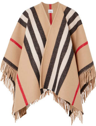 Burberry Fringed Checked Wool Wrap - Camel