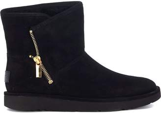UGG Mini Kip Ankle Boots In Black Suede Leather With Zip