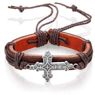 West Coast Jewelry Men's Brown Leather Geometrically Textured Cross Adjustable Bracelet (14mm)