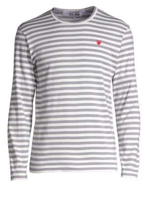 Comme des Garcons Small Heart Stripe Long-Sleeve Tee