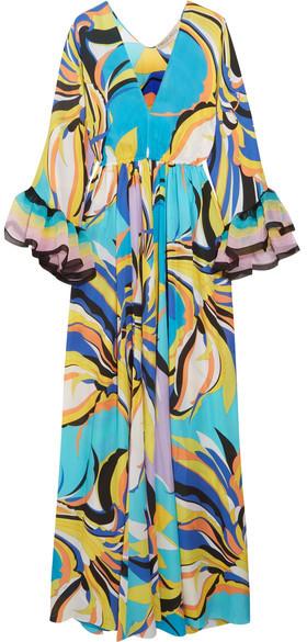 Emilio Pucci - Chiffon-trimmed Printed Silk-georgette Maxi Dress - Turquoise
