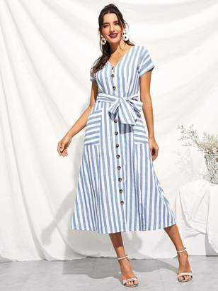 Shein Button Through Patch Pocket Striped Midi Dress