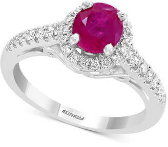 Effy Gemstone Bridal by Ruby (1 ct. t.w.) & Diamond (1/4 ct. t.w.) Ring in 18k White Gold