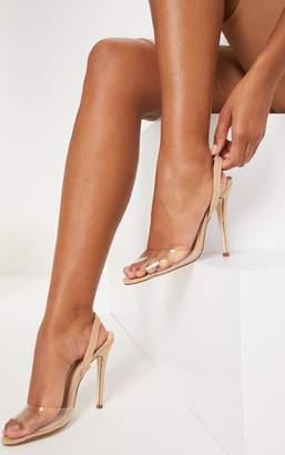 PrettyLittleThing Nude Clear Slingback Sandal
