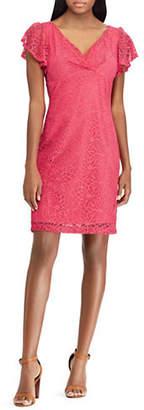 Chaps Lace Flutter-Sleeve Dress
