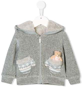 Lapin House zipped hoodie with mitten pockets