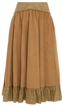 Batsheva Ruffled Cotton Corduroy Midi Skirt - Womens - Brown