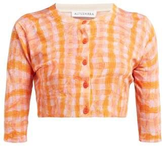 Altuzarra Anita Gingham Print Silk Blend Cardigan - Womens - Orange Multi