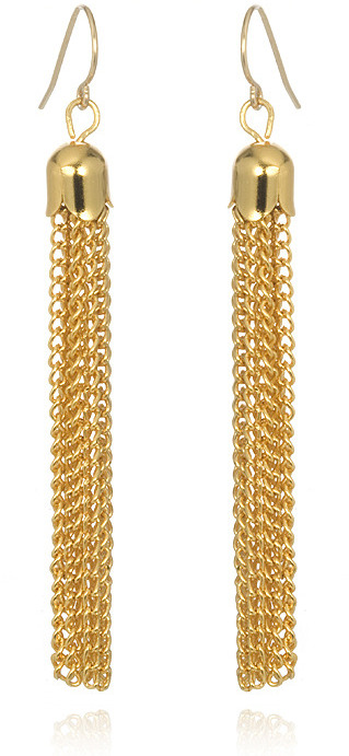 Gorjana Vintage Chain Tassel Earrings, Gold