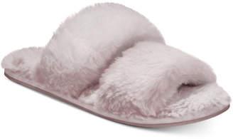 Lemon Two-Strap Faux-Fur Slide Slippers