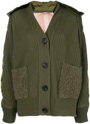 No.21 chunky knit bomber jacket