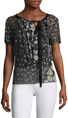 Marc Jacobs Women's Ruffle Front Cap Sleeve Top